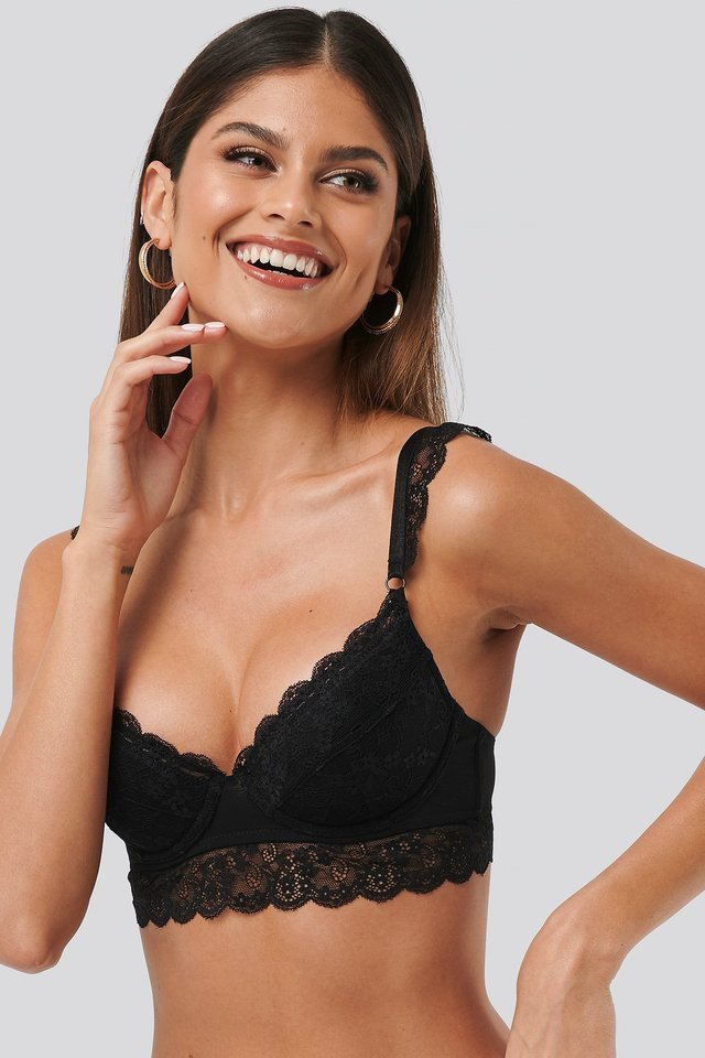 Wide Lace Strap Cup Bralette Black
