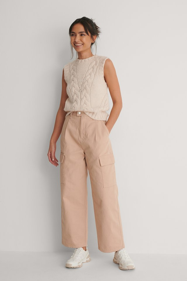 Dusty Peach Organic Wide Leg Cargo Pocket Jeans