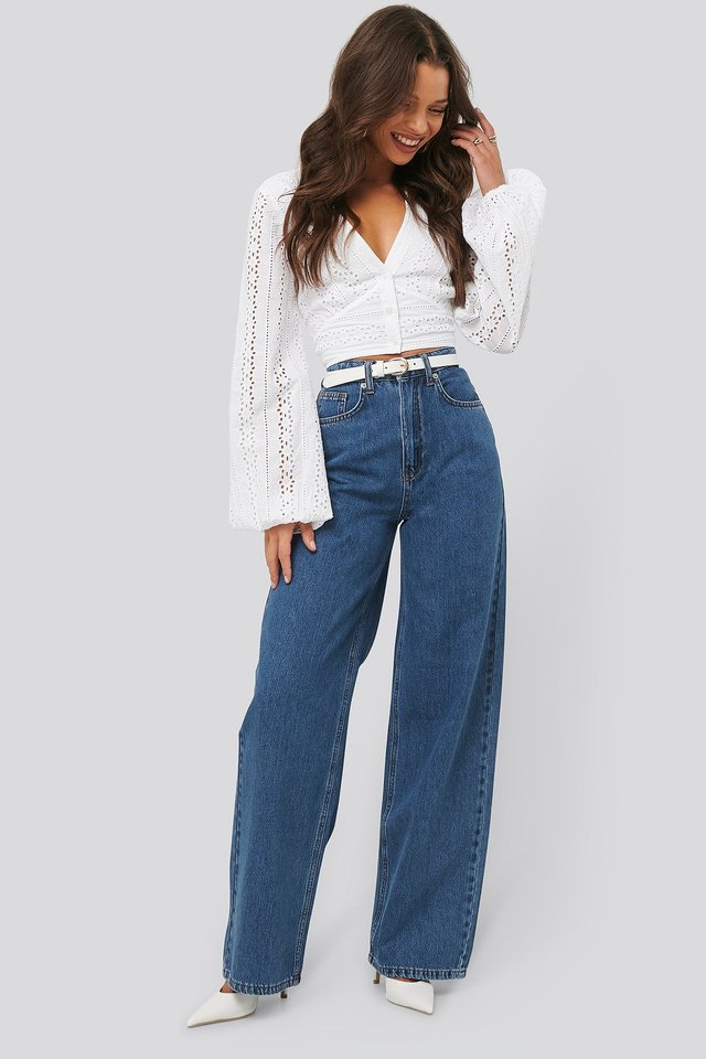 Wide Leg Denim Mid Blue