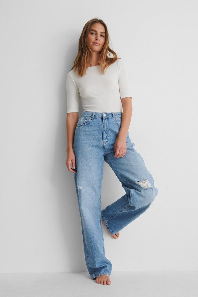 Mid Blue Wide Leg Destroyed Detail High Waist Jeans