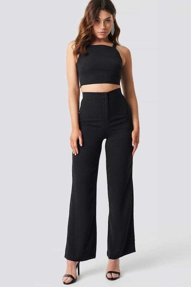 Wide Leg High Waist Pants Black