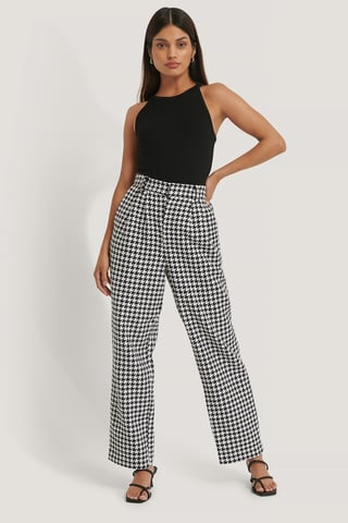 Black/White Wide Leg Houndstooth Pants