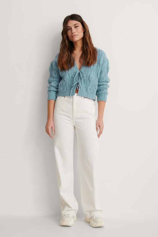 Ecru Organic Wide Leg Jeans