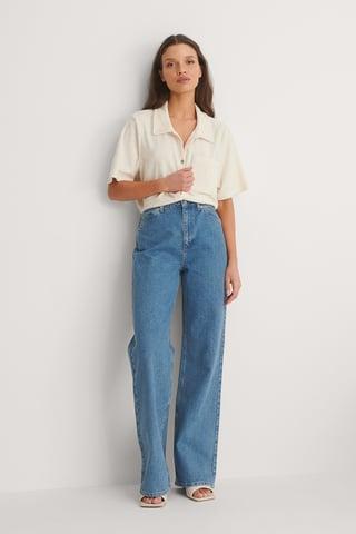Mid Blue Organisch Jeans Met Wijde Pijpen