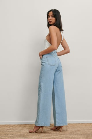 Light Blue Recycled Wide Leg Jeans