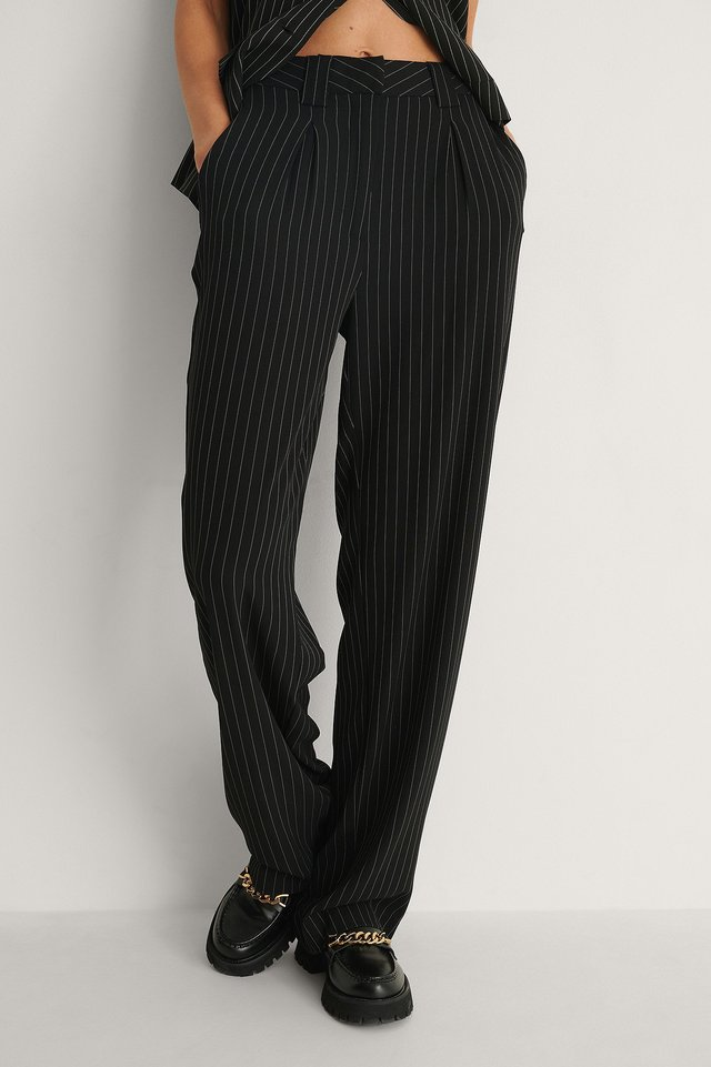 Black Stripe Recycled Wide Leg Pinstriped Pants