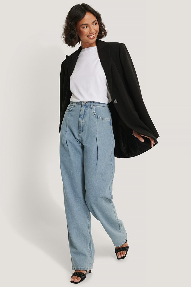 Wide Leg Pleat Denim Light Denim