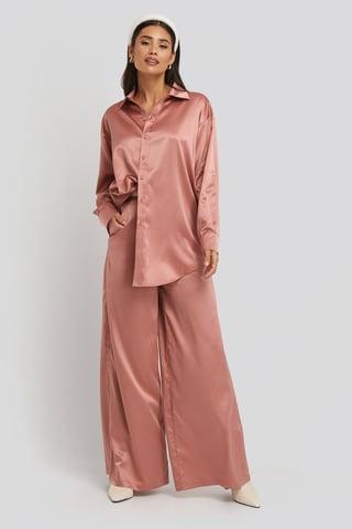 Dark Pink Wide Leg Satin Pants