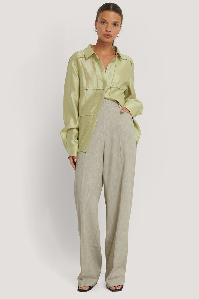 Wide Leg Suit Pants Light Green