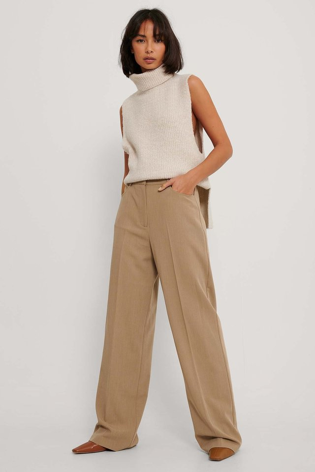 Wide Leg Suit Pants Dark Beige