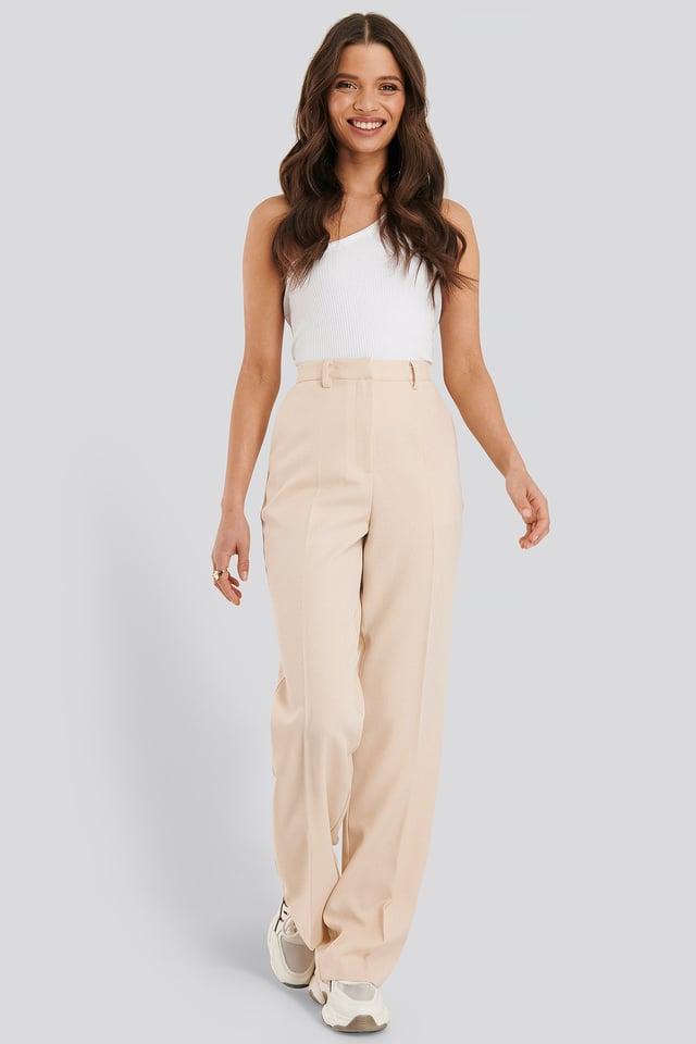 Wide Leg Suit Pants Cream
