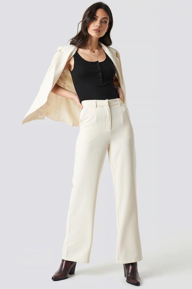 Wide Leg Suit Pants Off White