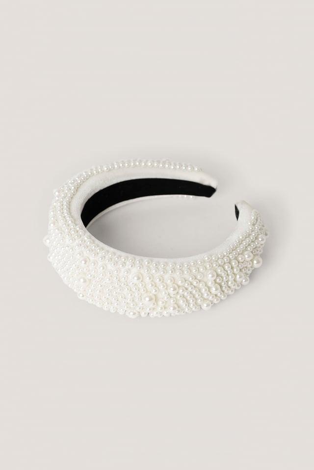 Przepaska Do Włosów Z Perełkami W Stylu Vintage White