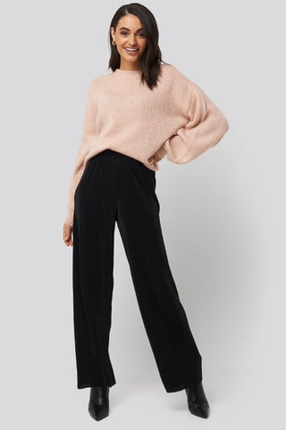 Black Wide Pleated Pants