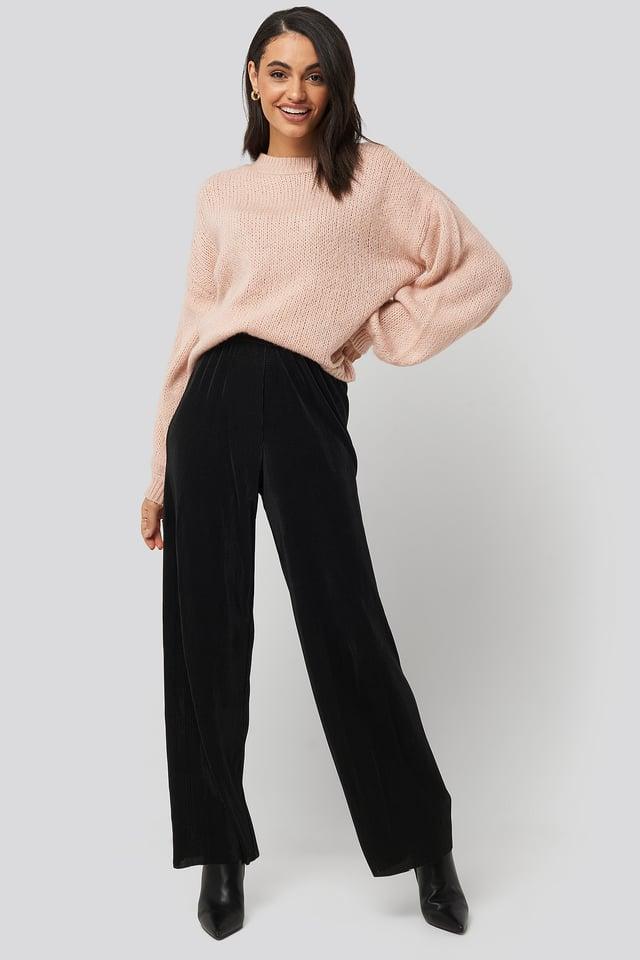 Black Wide Pleated Pants