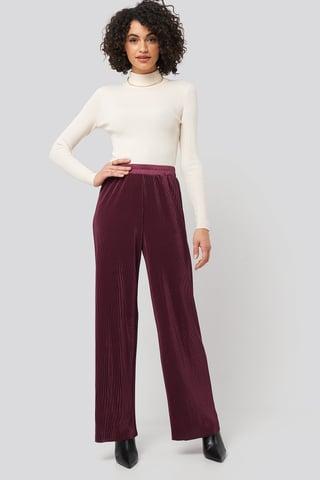 Burgundy Wide Pleated Pants
