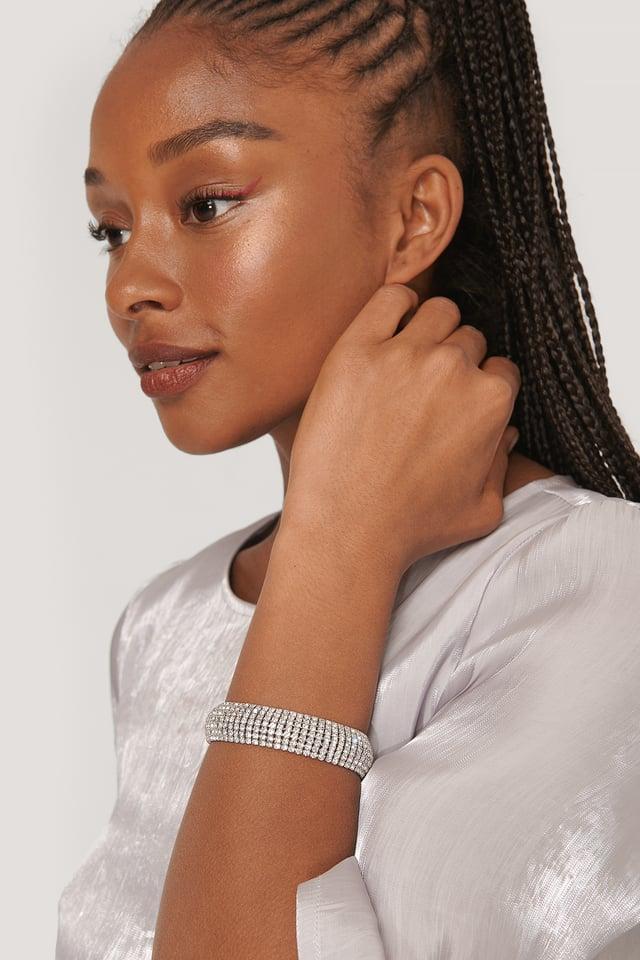 Wide Rhinestone Bracelet Silver