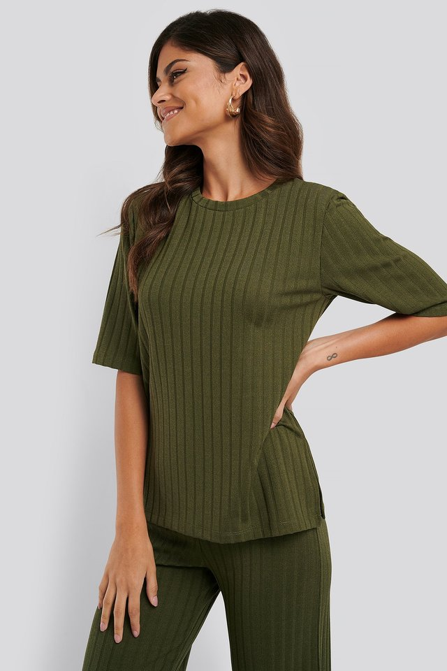 Army Green Wide Rib Long Sleeve Top