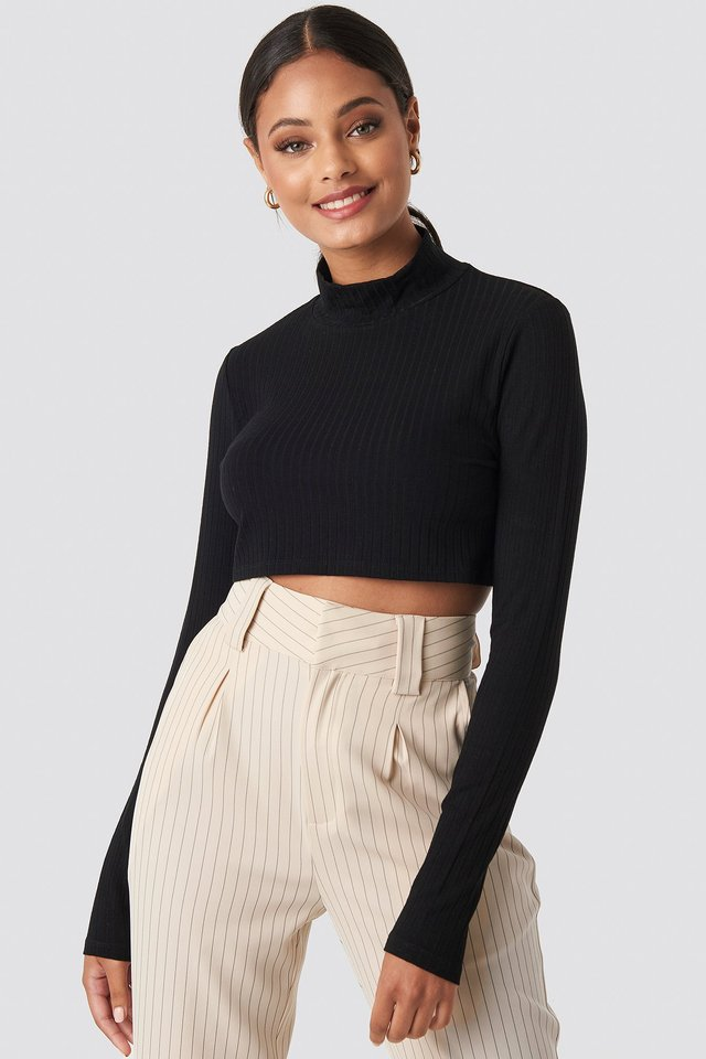 Wide Rib Polo Neck Long Sleeve Cropped Top Deep Black