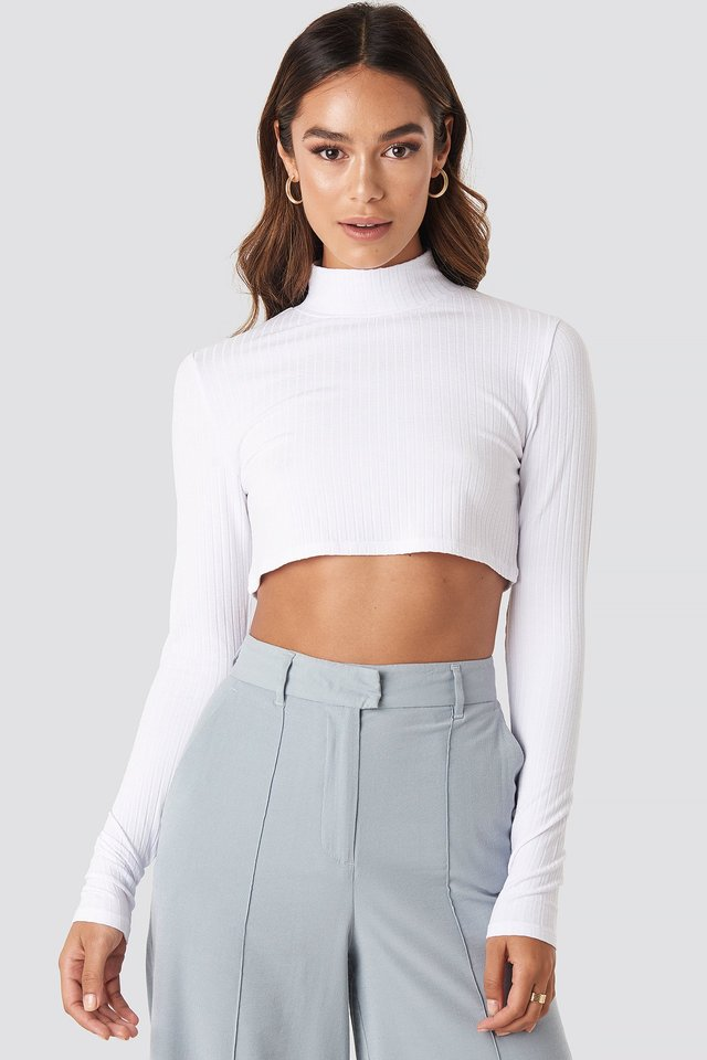 Wide Rib Polo Neck Long Sleeve Cropped Top Optical White