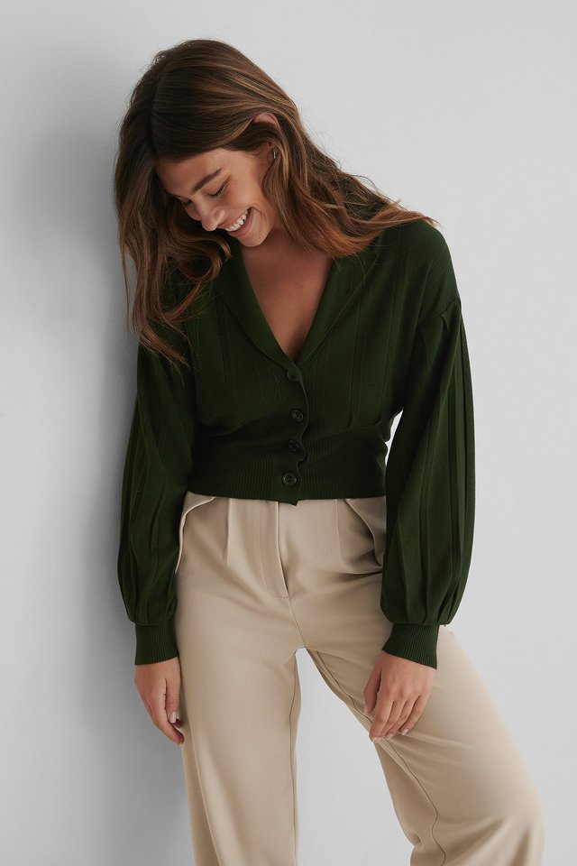Wide Ribbed Cardigan Dark Green