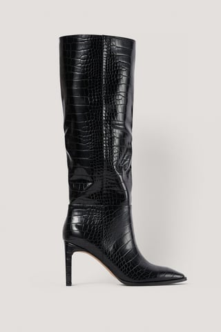 Black Wide Shaft Squared Toe Boots