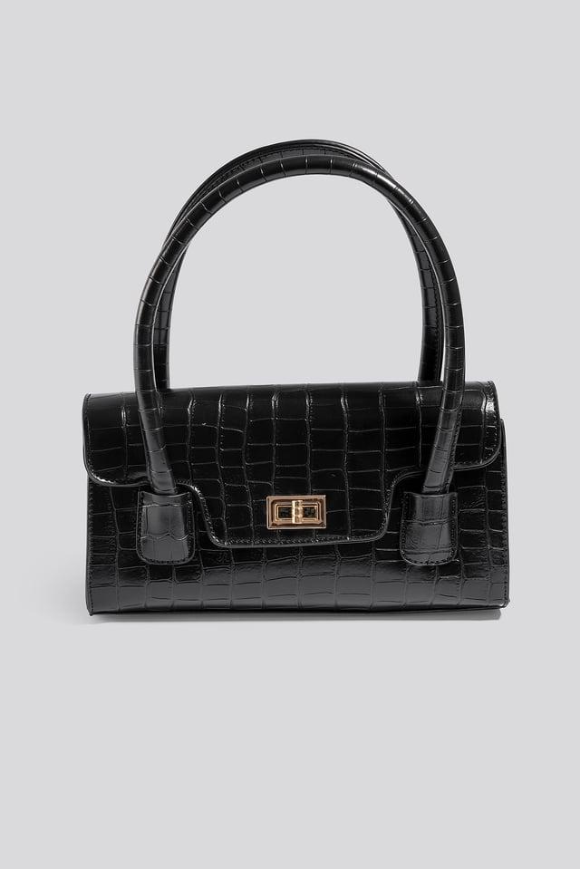 Wide Short Shoulder Bag Black