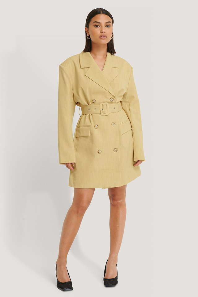 Dusty Light Yellow Wide Shoulder Belted Blazer Dress