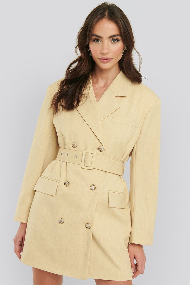 Wide Shoulder Belted Blazer Dress Dusty Light Yellow