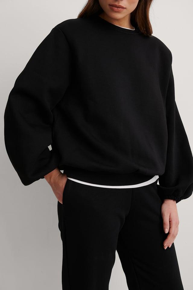 Black Økologisk Jersey Trøje Med Vid Skulder