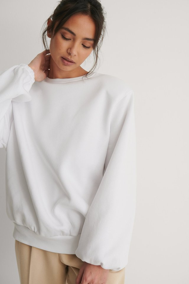 White Organic Wide Shoulder Jersey Sweater