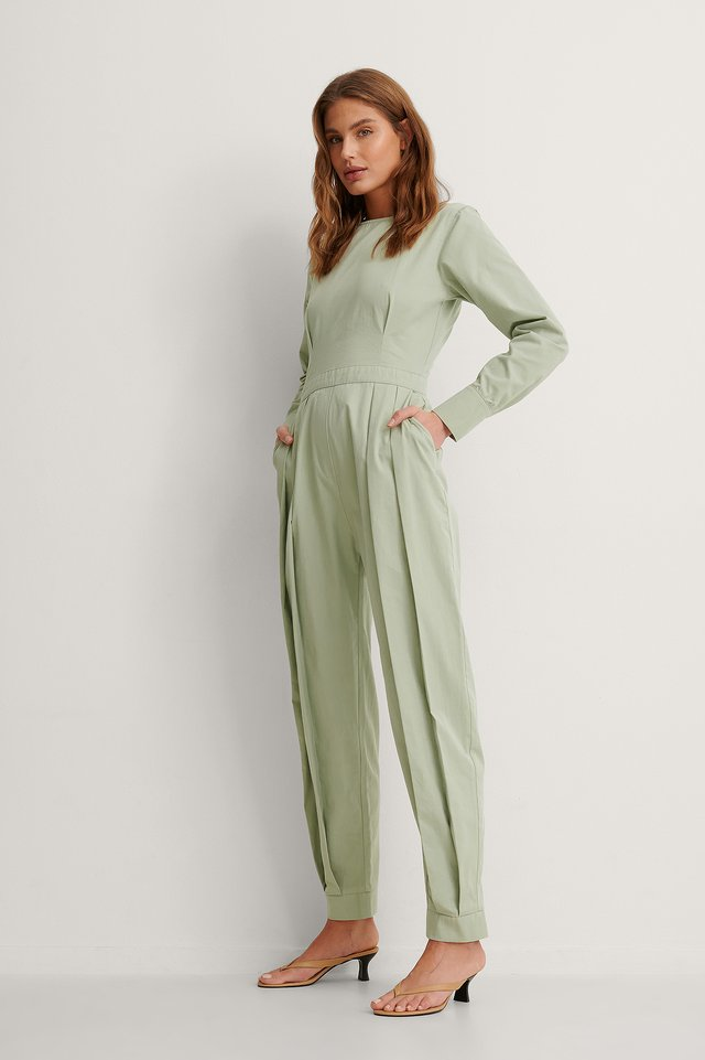 Green Organic Wide Shoulder Jumpsuit