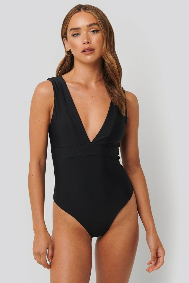 Wide Shoulder Strap Swimsuit Black