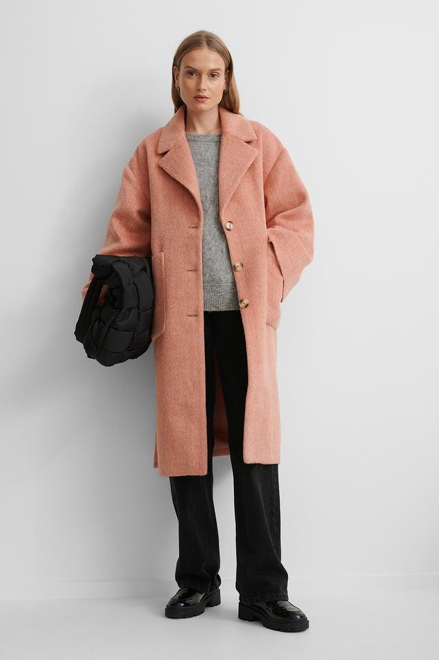 Pink Długi Płaszcz