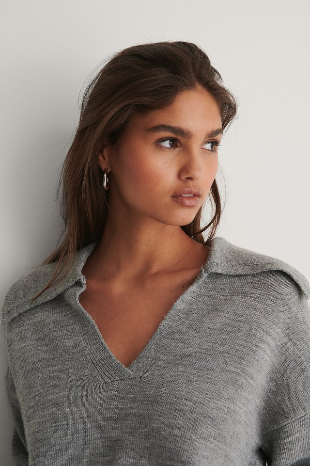 Grey Wide Sleeve Collar Detail Knitted Sweater