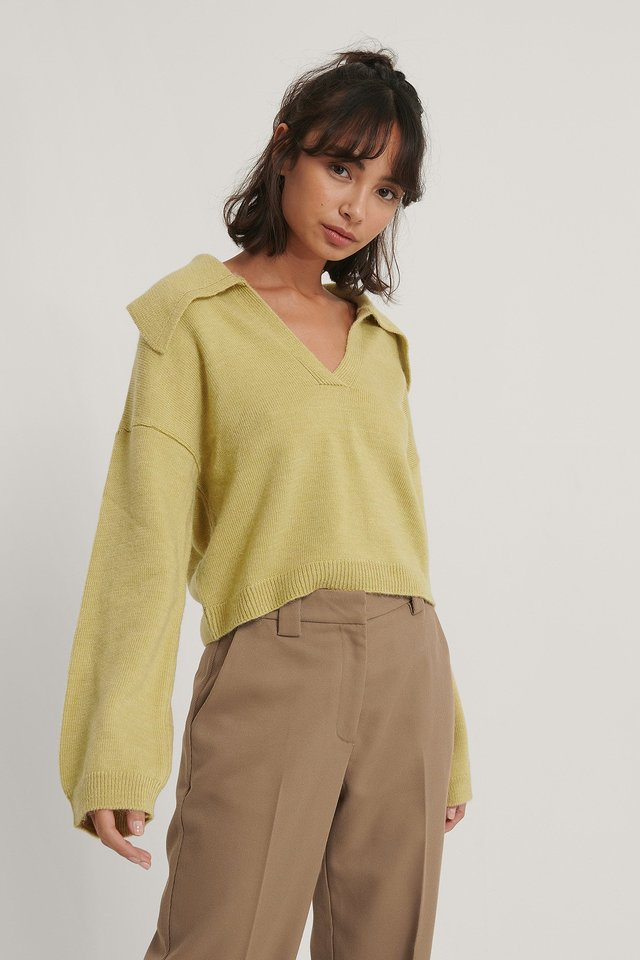 Wide Sleeve Collar Detail Knitted Sweater Olive
