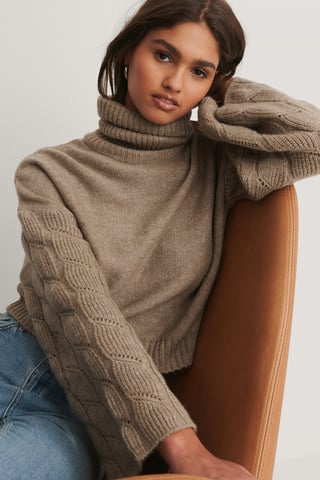 Beige Wide Sleeve High Neck Knitted Sweater