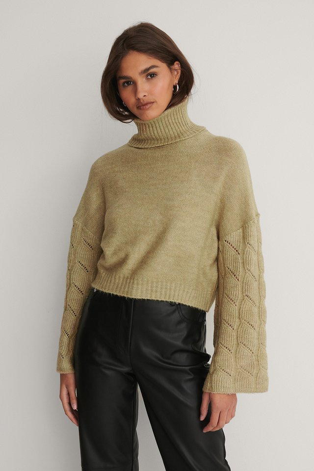 Wide Sleeve High Neck Knitted Sweater Green