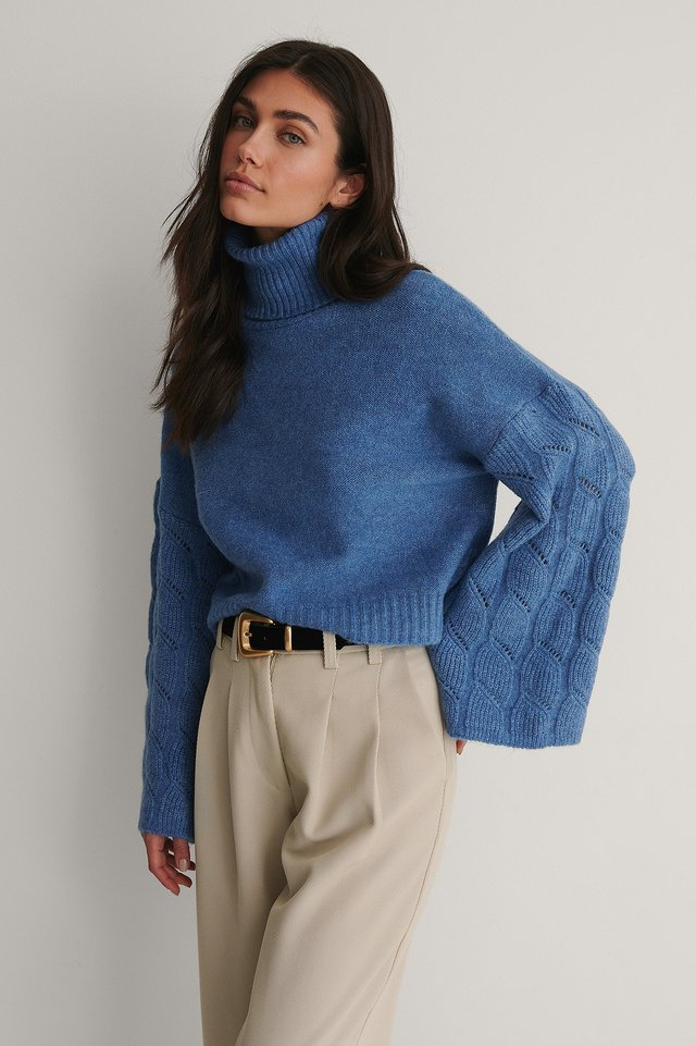 Dark Blue Wide Sleeve High Neck Knitted Sweater