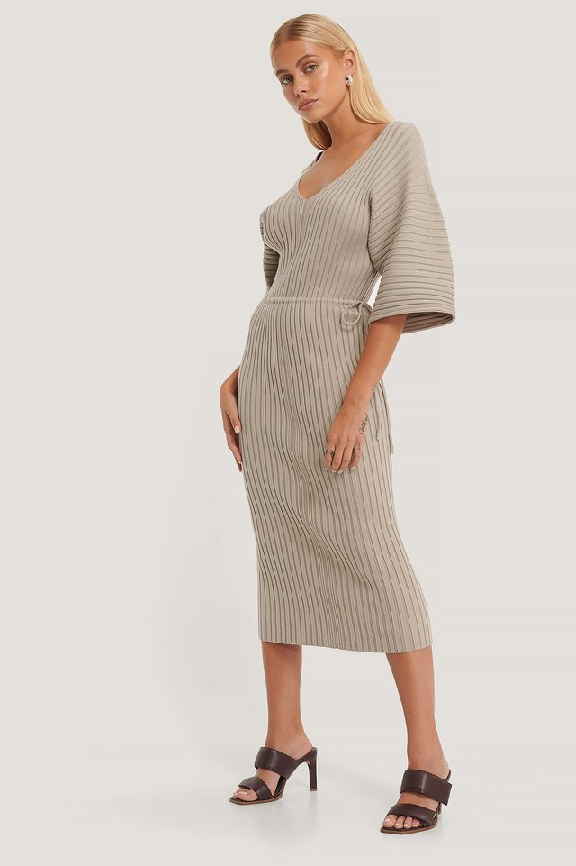 Wide Sleeve Knitted Dress Beige