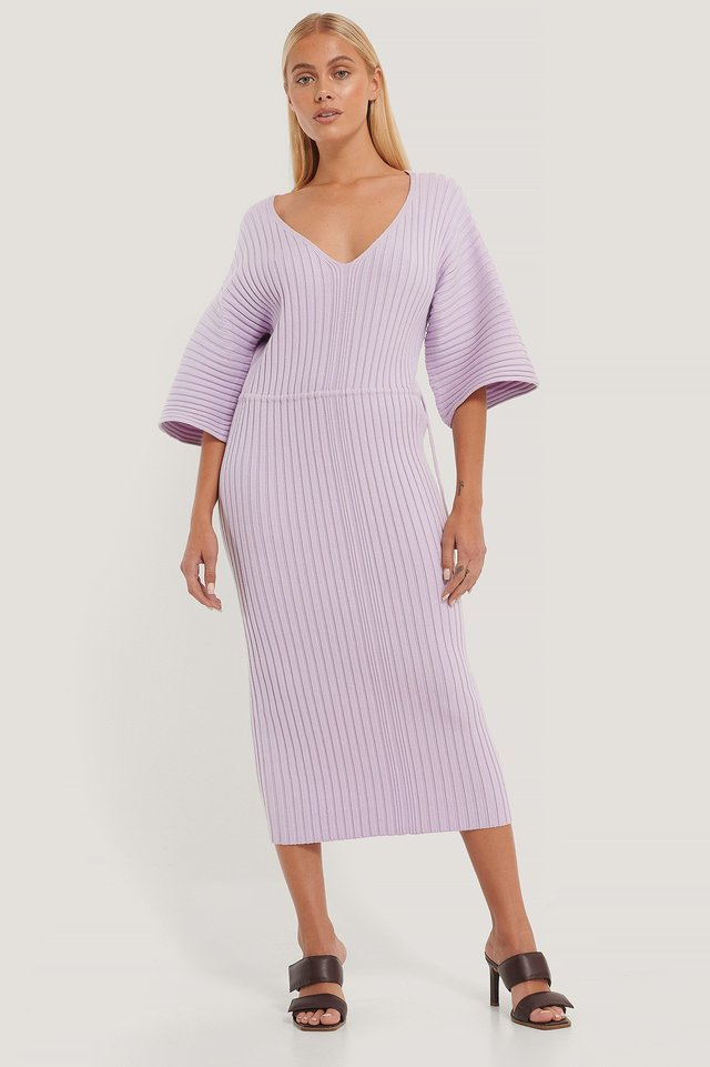 Wide Sleeve Knitted Dress Light Purple