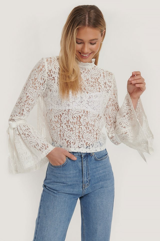 Wide Sleeve Lace Top White