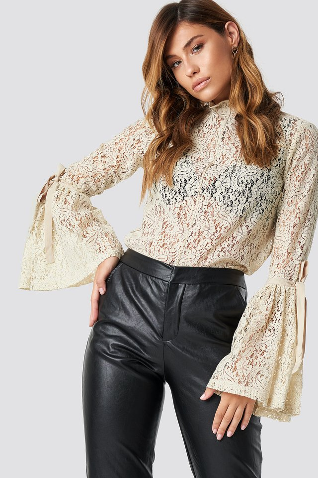 Wide Sleeve Lace Top Light Beige