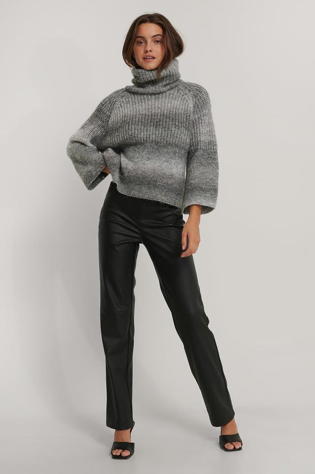 Grey Wide Sleeve Melange Knitted Sweater