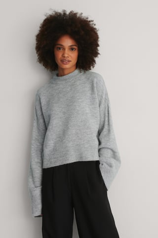 Light Grey Wide Sleeve Round Neck Knitted Sweater