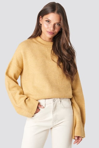 Dusty Yellow Wide Sleeve Round Neck Knitted Sweater