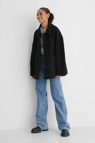 Black Wide Sleeve Shacket