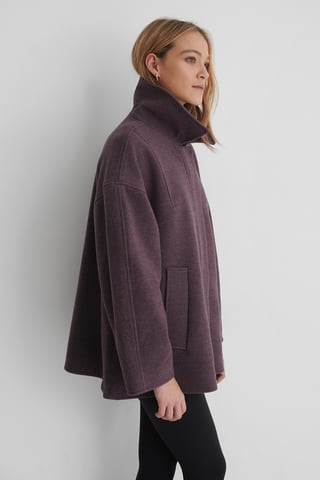 Dark Purple Wide Sleeve Shacket