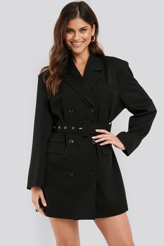 Black Wide Shoulder Belted Blazer Dress