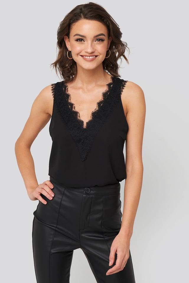 Wide Strap Lace Singlet Black